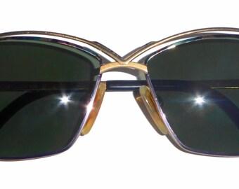 Vintage Cazal 257 Sunglasses Green Lens Gold Frame