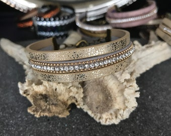 Bangle cuff - gold and silver tone - rhinestones
