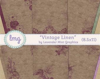 """Vintage Digital Journal Paper - """"Vintage Linen"""" - Junk Journal Paper, Scrapbooking, Vintage Journal Paper, Shabby Chic, Instant Download, CU"""