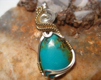 Kingman Turquoise Pendant Pendant Wire Wrapped in Sterling & 14k Gold Filled Wire
