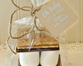 S'mores Favor Kits, 12  S'mores Party Favor Kits, Baby Shower, She's About To Pop, It's A Boy, Baby Shower Favors