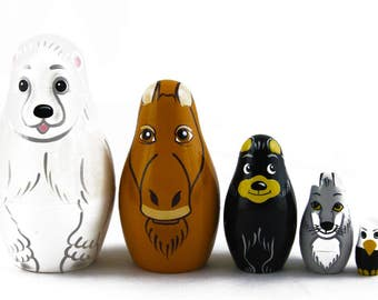 Matryoshka Matrioshka Russian Nesting Doll Babushka Animals Alaska Moose Bear Wolf Set 5 Pieces