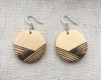 Minimalist lightweight pyrography wooden earrings with surgical steel