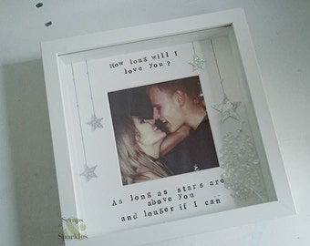 love/couple hand stamped box frame - how long will I love you