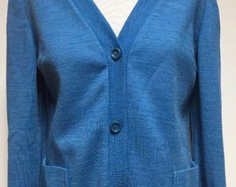 Glenayr Kitten Vintage Womens Cardigan, Womens Blue Sweater, Sz 16 Wool Polyester Top, Made in Canada Sweater Cardigan