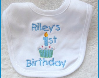 Personalised 1st Birthday Baby Bib - white bib - Boy or Girl colours - Embroidered