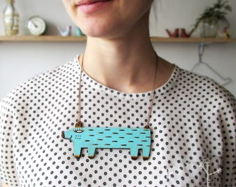"""Wooden pendant / necklace """"Blue Wolf"""" / best gift for Mother's Day"""