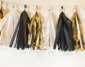 Tassel Garland   Black, White, and Gold Tassel Garland   Hollywood Theme Party   Gatsby Theme Party   Party Decorations   Bridal Shower   50