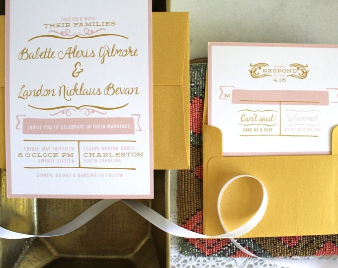 PRINTABLE Wedding Invitation Suite | Southern Belle in Blush & Gold
