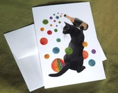 Black Cat with Champagne and Colored Paper Balls Glitter Birthday Card, Glitter Birthday Card