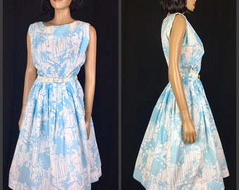Vintage 1950s Dress Day 50s Colonial Miss Fit and Flair Dress Powder Blue and White Full Skirt Sleeveless Crepe