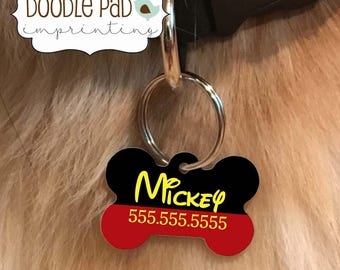 Disney Pet ID Tag, Personalized Dog Tag, double sided
