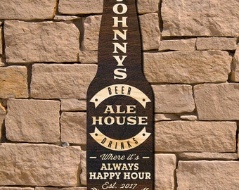 Ale House Custom Wood Bar Sign - Beer Bottle Shape Hand-Stained Dark Brown with Personalized Engraving, Wedding, Housewarming, Retirement