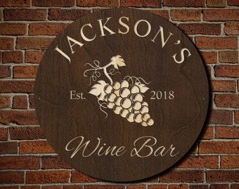 Sunset Vineyard Custom Wine Bar Sign - Gift for Wine Lovers, Newlyweds - Wine Cellar Wall Decor with Grapes, Engraved with Name and Date