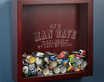 Beer Cap Collector Shadow Box with Man Cave Rules Design - A Unique Custom Gift for Men & Women - Proudly Display Your Mementos Anywhere