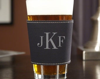 Personalized ThermaSleeve with Pint Glass - Customized with our Classic Monogram - Great Gifts for Beer Lovers