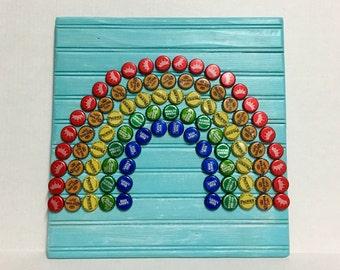 Rainbow Bottle Cap Wall Art