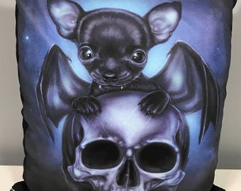 "Black Gothic Bat Chihuahua & Skull Cushion Cover with insert ""Fable"" illustration"
