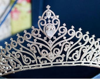 Silver wedding tiara Silver bridal tiara Silver Crown Bridal Crown Princess tiara crown Crystal tiara Swarovski tiara Wedding Accessories