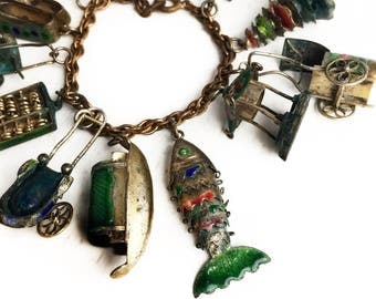 Antique Rare Chinese Enamel Charms Bracelet ~ Early 1900s Enamel Jewelry