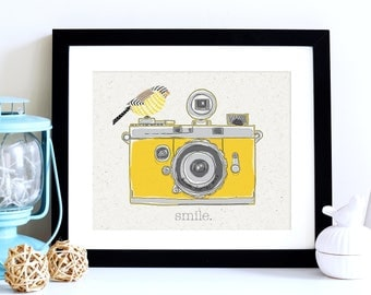 Camera Print, Retro Wall Art Print, Art Canvas, Mustard Print, Ochre Print, Retro Camera Print, Retro Camera Wall Art, Photographer Gift