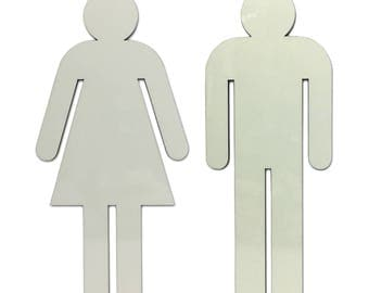 Glow In The Dark - Men and Women Silhouette Bathroom Sign Cut Out Of Acrylic