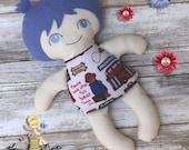 Handmade Cloth Rag Doll - Small Boy Fabric Doll - Blue Eyes- Stuffed Toys