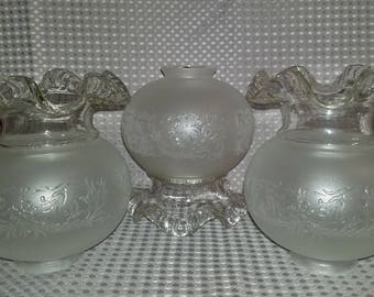 """Rare Orig Vintage French Vianne Victorian Embossed Glass Globe Floral 2 1/4"""" (I have a total of 26!)"""
