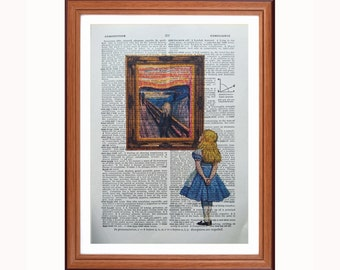 Alice in Wonderland vs Edvard Munch - The Scream - dictionary art print home decor present gift christmas