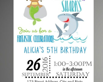 Mermaid and Shark Invitation | Digital or Printed | Mermaid Invitation | Shark Party Invitation  Shark and Mermaid -INSTANT DOWNLOAD