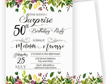 50th Birthday Invitations /Any Age/ Neutral Invitations / 50th Birthday Party / 50th Invitations / Printable or Printed/ Back included