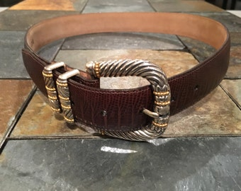 Vintage Early 1990s Brighton Brown Leather Belt - Gold and Silver tone Decorations ... Snakeskin Pattern