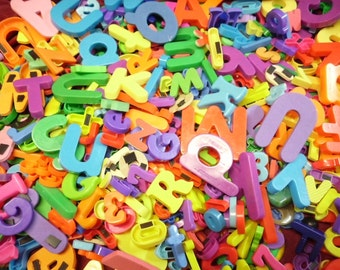 75 Assorted Magnetic Letters and Numbers Many Colors Styles Plastic Foam Different Sizes