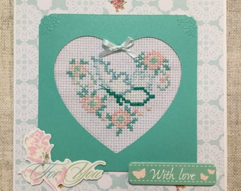 Butterfly cross stitch card / hand stitched card / Birthday card / handmade card / cross stitch card