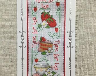 Cross stitch card / teatime cross stitch / handmade card