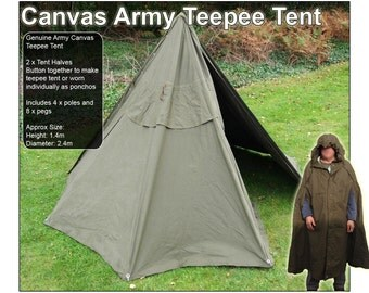 Canvas Poncho Teepee Tent (two parts can be worn as ponchos or buttoned together to make a tent)