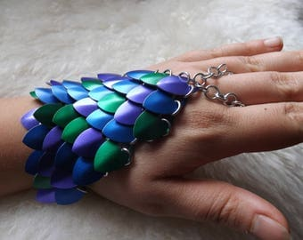 Scalemail Handflowers - Slave Bracelets - Hand Bracelets - Chainmaille and Scalemaille - Made to Custom Order