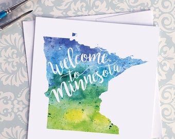 Minnesota Watercolor Map Greeting Card, Welcome to Minnesota Hand Lettered Text, Gift or Postcard, Giclée Print, Map Art, Choice of 5 Colors