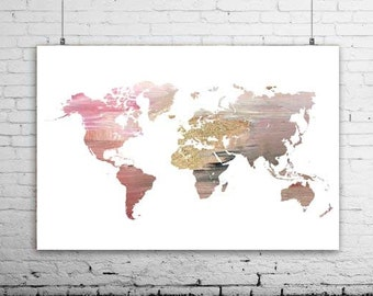 Gold world map poster gold world map art gold world map extra large map wall print wedding world map world map canvas printable art gumiabroncs Gallery