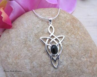Celtic, elvish, silver and black onyx, precious stone necklace, celtic jewelry, elvish jewelry,black onyx jewelry, french hand made