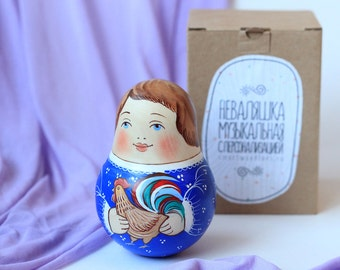 Personalized musical russian style tilting doll, roly poly, matreshka
