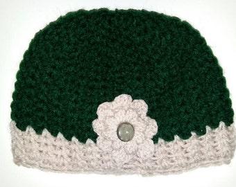 Crochet beanie hat with flower