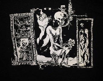 Occult Skull tomb illustration T-shirt ~~FREE SHIPPING~~ occult goth skeleton gothic medieval horror