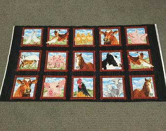 Animal fabric. Horse fabric panel. Farm fabric quilt blocks Cow Duck Sheep Chicken Rooster Pig Barnyard fabric quilting cotton Quilt squares