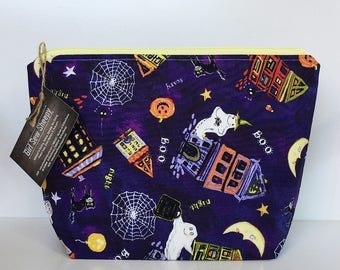 Halloween 2 Skein Size STURDY Yellow Zip Project Bag for Knitting Craft Travel