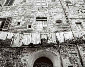 Laundry room art, Italy photo, travel photo, Tuscany photography, rustic decor,large wall art,mud room art, urban decor, black white photo