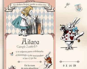 Alice in the country of the wonders to print / invitation of Alice and Wonderland invitation/Alice in wonderland