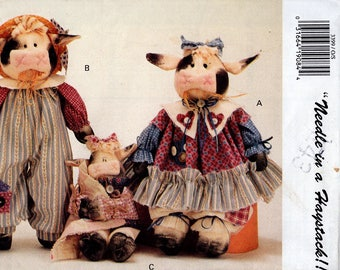 Butterick 3399 Retro 1990s 90's Sewing Pattern Free Us Ship Uncut Mr Mrs Cow Doll & Baby Needle in a Haystack Farm Barnyard Country