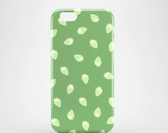 Tiny Green Strawberries phone case, iPhone 6S case, cute iPhone 7 Plus case, Samsung Galaxy S7, Samsung Galaxy S6, Samsung Galaxy S6 Edge