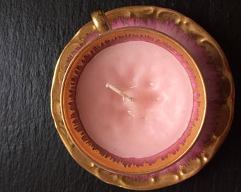 Pink and Gold Vintage Tea Cup Candle